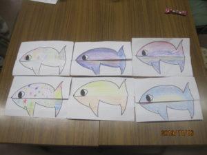 ヨナさんのお話を聞いたあとヨナさんをのみ込んだ魚を書きました